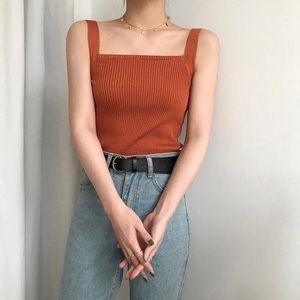 Knit square neck tank top